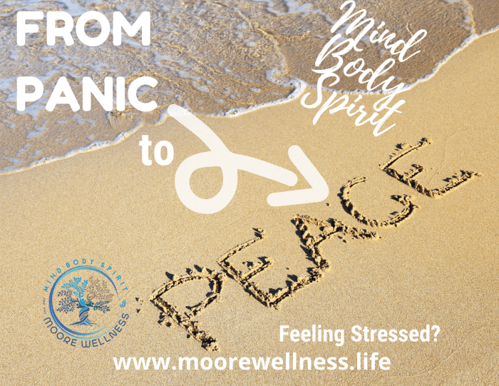 """Feeling stressed? From Panic to Peace: mind-body-spirit. www.moorewellness.life"" written on a beach"