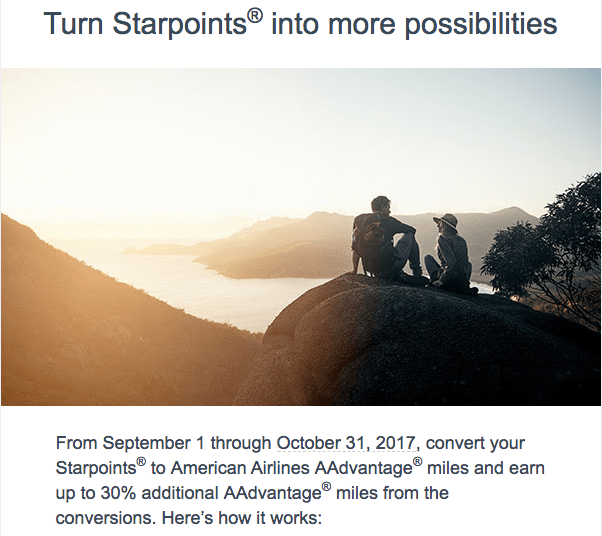 Transfer SPG Starpoints to American AAdvantage Miles