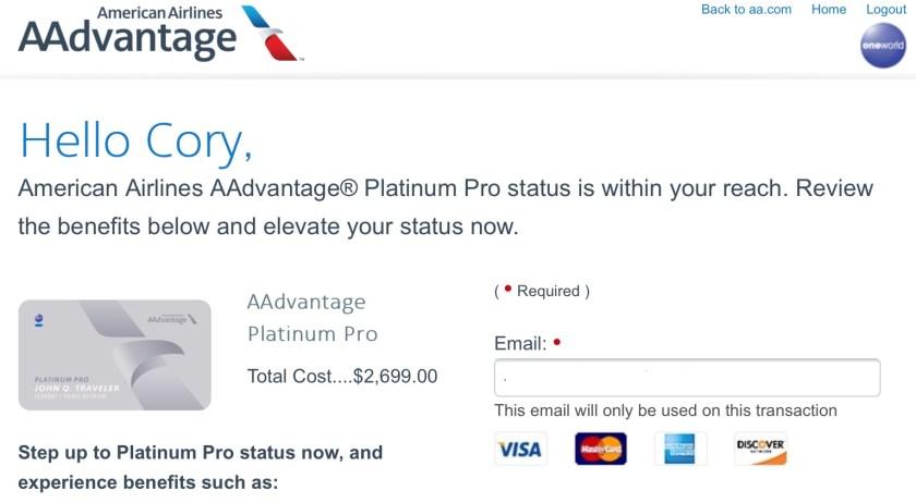 AAdvantage Platinum Pro Buy Up Offer
