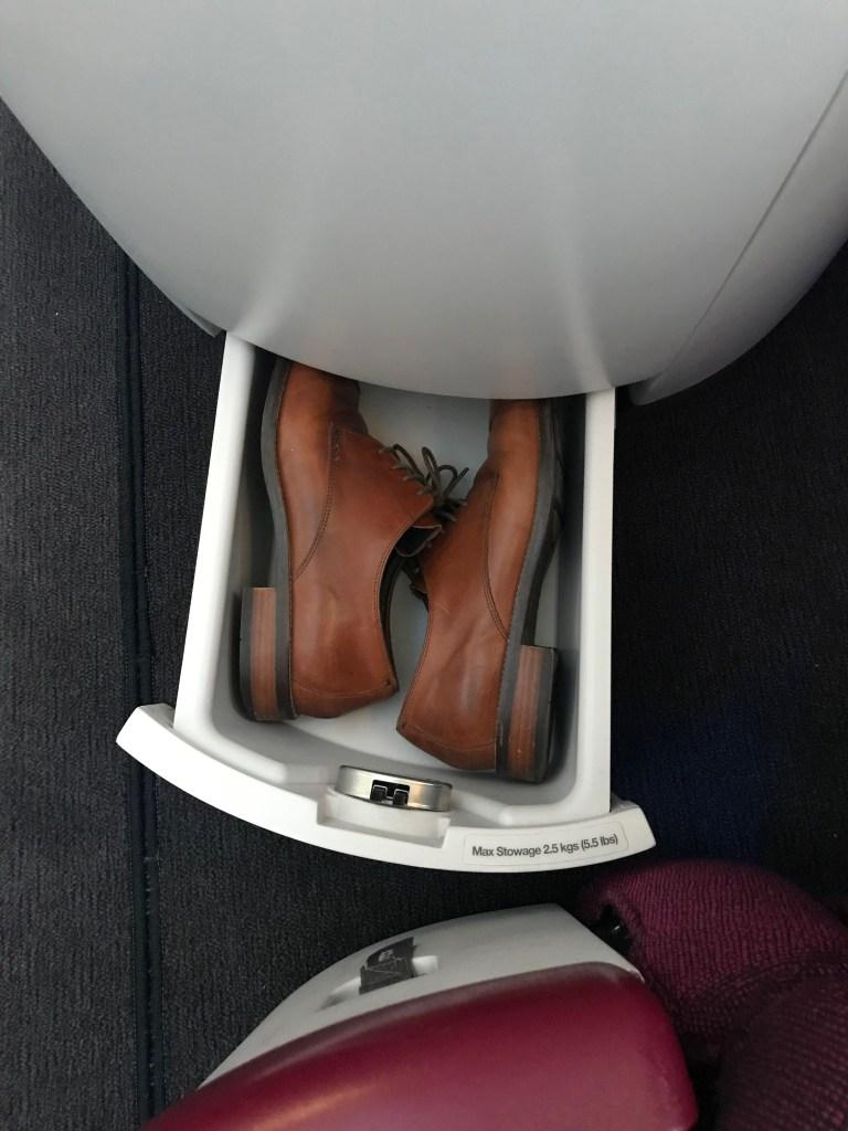 Qatar Airways A350 Business Class Shoe Storage