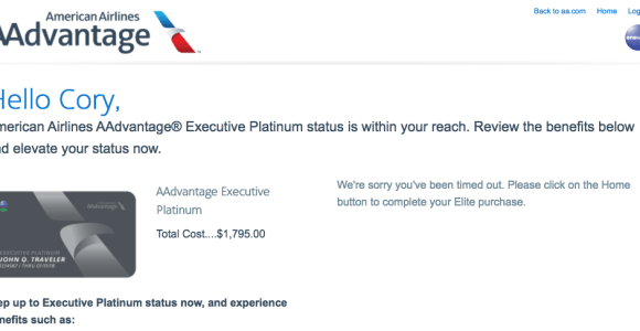 My Final American AAdvantage Buy Up Offer To Executive Platinum