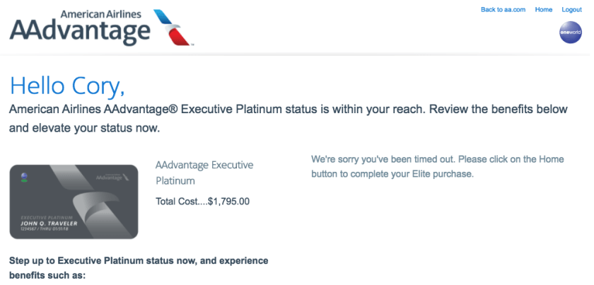 American Executive Platinum Buy Up Offer