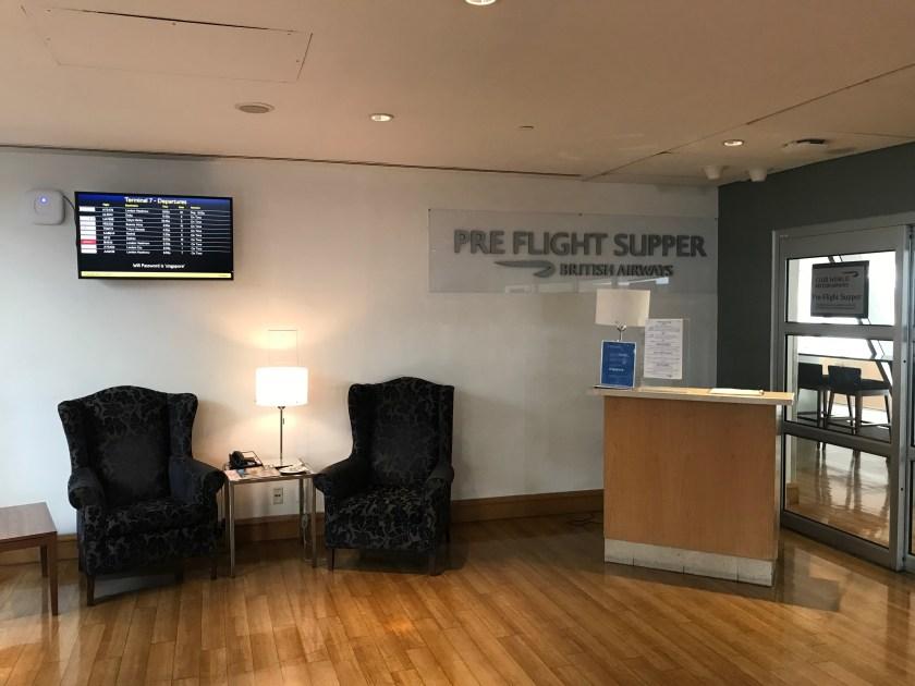 British Airways Galleries New York JFK Pre-Flight Supper