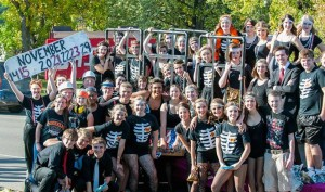 """Chicago The Musical"" cast from Moorhead High School at homecoming parade"