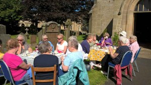 St Mary's Coffee (and tea) morning spiiled out into the churchyard