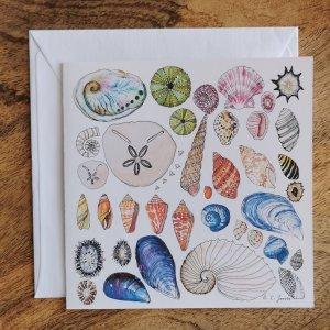 CoralBloom Greeting Card Single Seashells