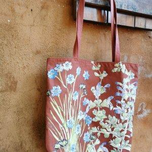 CoralBloom Cotton Tote Bag Aristea Terracotta Detail
