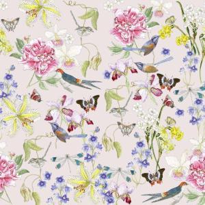 CoralBloom Kimono Purelinen Flora and Fauna on Beige