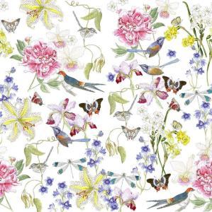 CoralBloom Kimono Purelinen Vintage Flora and Fauna on White