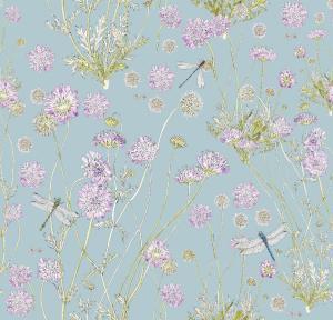 CoralBloom Kimono Purelinen Scabious on French Blue Dragonfly
