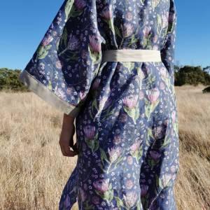 CoralBloom Linen Kimono Protea Backview