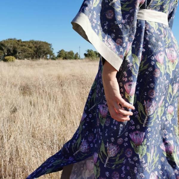CoralBloom Linen Kimono Protea Detail