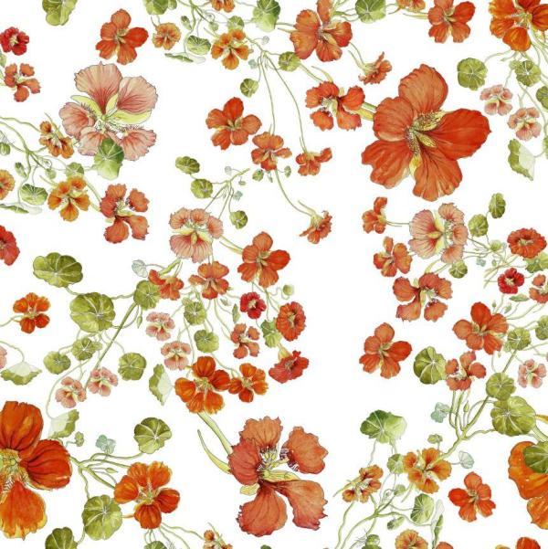 CoralBloom Tablecloth Cotton Nasturtiums on White