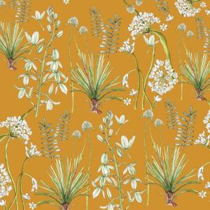 CoralBloom Tablecloth Cotton Greenery Botanicals on Mustard