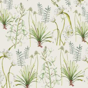 CoralBloom Tablecloth Cotton Greenery Botanicals on Stone