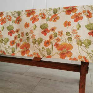 CoralBloom Tablecloth Cotton Tablesetting Nasturtiums Cotton