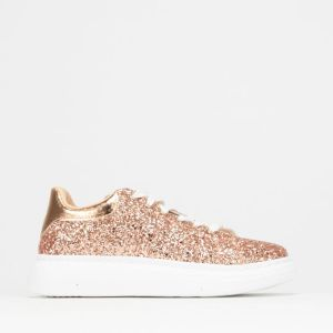 Glitter Lace Up Sneaker Rose Gold