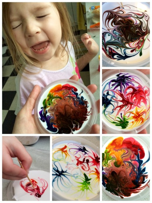 glue + food coloring sun catchers
