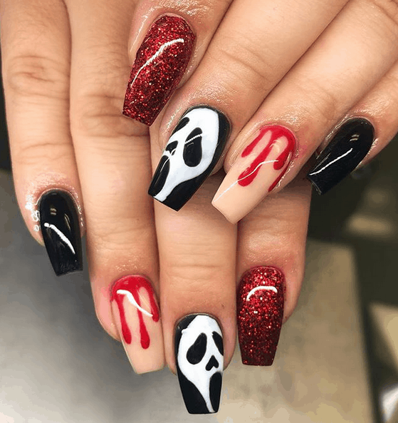 Scream Halloween Nail Art | Spooky Halloween Nail Designs For Creepy Fingers #Halloween #nails #nailart