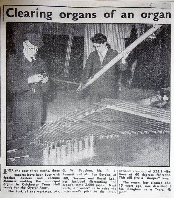A newspaper article covering the 1952 cleaning work