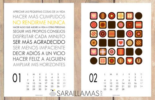 calendario pared 2013 ilustrado sarai llamas