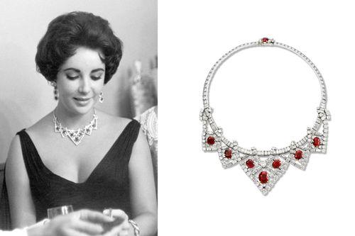 Collar de rubíes y diamantes de la firma de joyas francesa Cartier. Lo lleva la actriz Elizabeth Taylor.