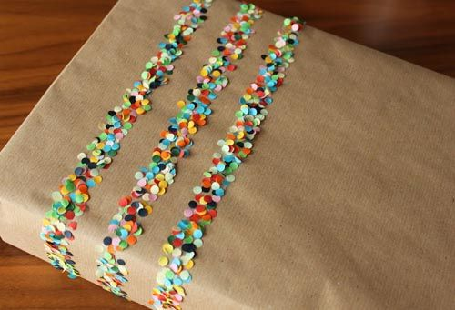 envoltorio regalo confetis colores