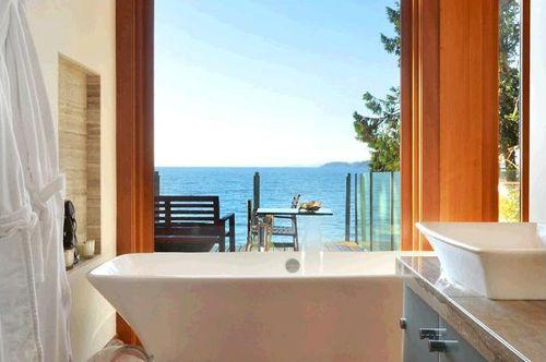 bañera baño habitacion principal casa madera