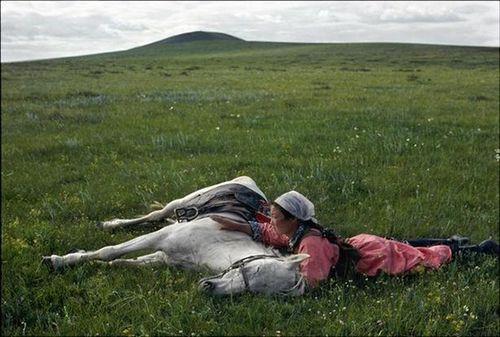 Entrenamiento de los caballos de los militares en China, Eve Arnold.