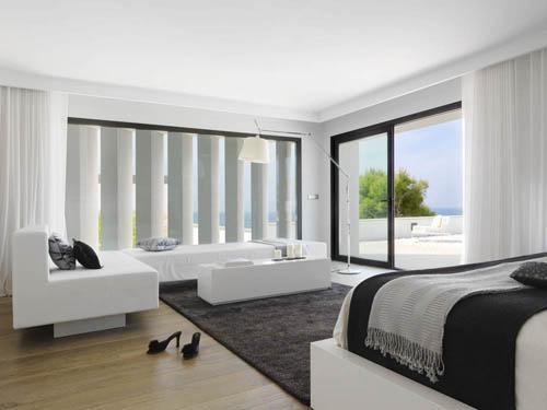 habitacion principal negro blanco casa mar