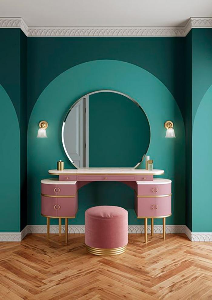 espacio belleza curvilineo rosa y verde