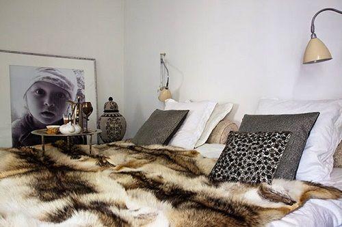 Manta de pelo cama dormitorio