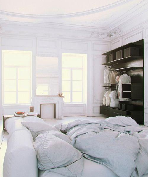 Parisian-Apartment-soft-white-cotton-bedding-with-fireplace-600x720