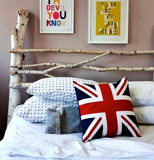 cabecero cama troncos