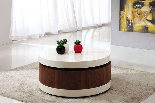 Modena mesa circular en madera y blanco