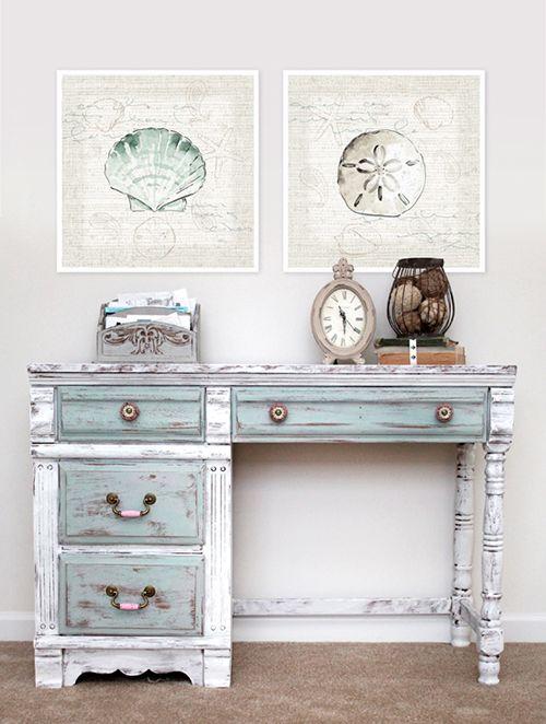 mesa escritorio chalk paint pintura colores pastel vintage shabby chic diy decoracion