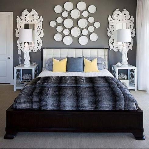 platos blancos dormitorio decoracion paredes ideas