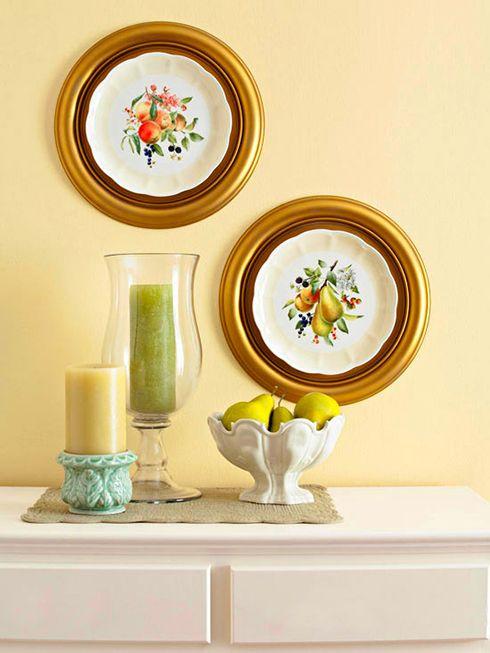 platos enmarcados pared ideas decoracion
