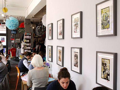 decoracion tematica ciclismo cycle cafe cafeteria look mum no hands londres