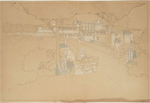 """Residencia Sherman H. Booth, Glencoe, Illinois. Perspectiva del esquema 1"", Frank Lloyd Wright (1911)"