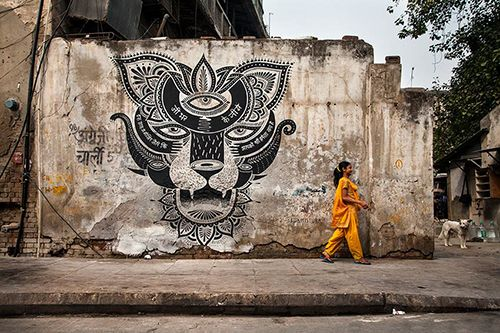delhi boa mistura mural arte callejero urbano india