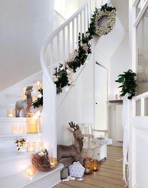 decoracion navidad nordica escalera