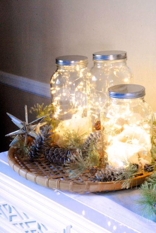 ideas decoracion navidad tarros con luces