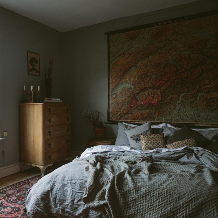 dormitorio masculino tonos grises