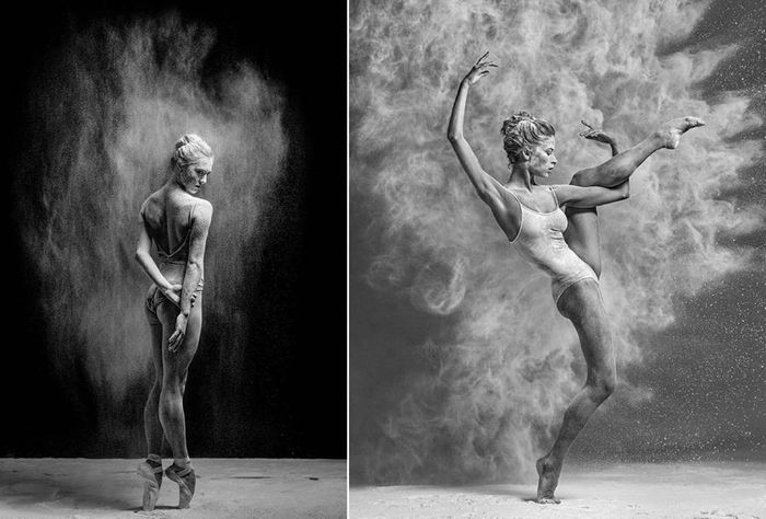 Espectaculares imágenes en blanco y negro de bailarinas cubiertas de harina