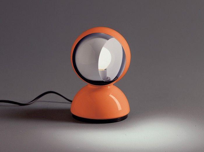 lampara eclisse eclipse vico magistretti color naranja sobremesa luna diseño mobiliario italiano