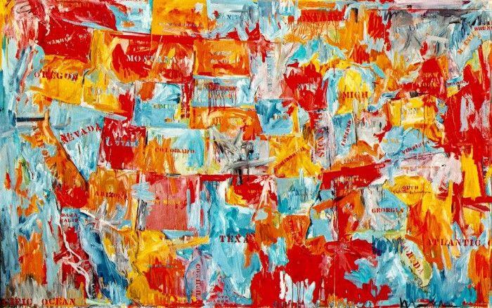 map pintura de un mapa estados unidos obra jasper johns artista pop art