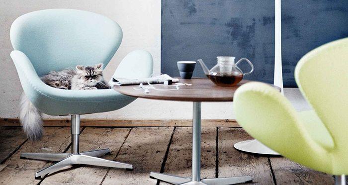 silla cisne swan chair arne jacobsen diseño danes curvo color azul verde gato top 20 sillas de diseño