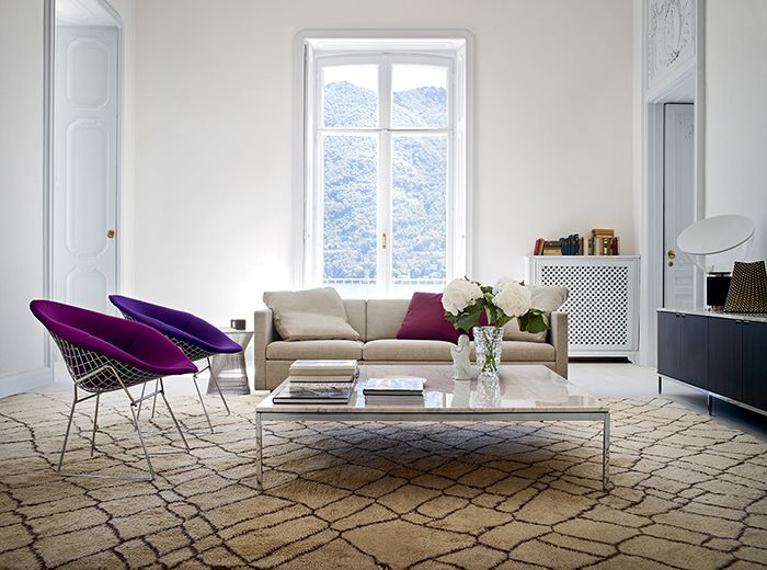 silla diamond diamante harry bertoia knoll acero cromado cubierto cojines violetas salon diseño