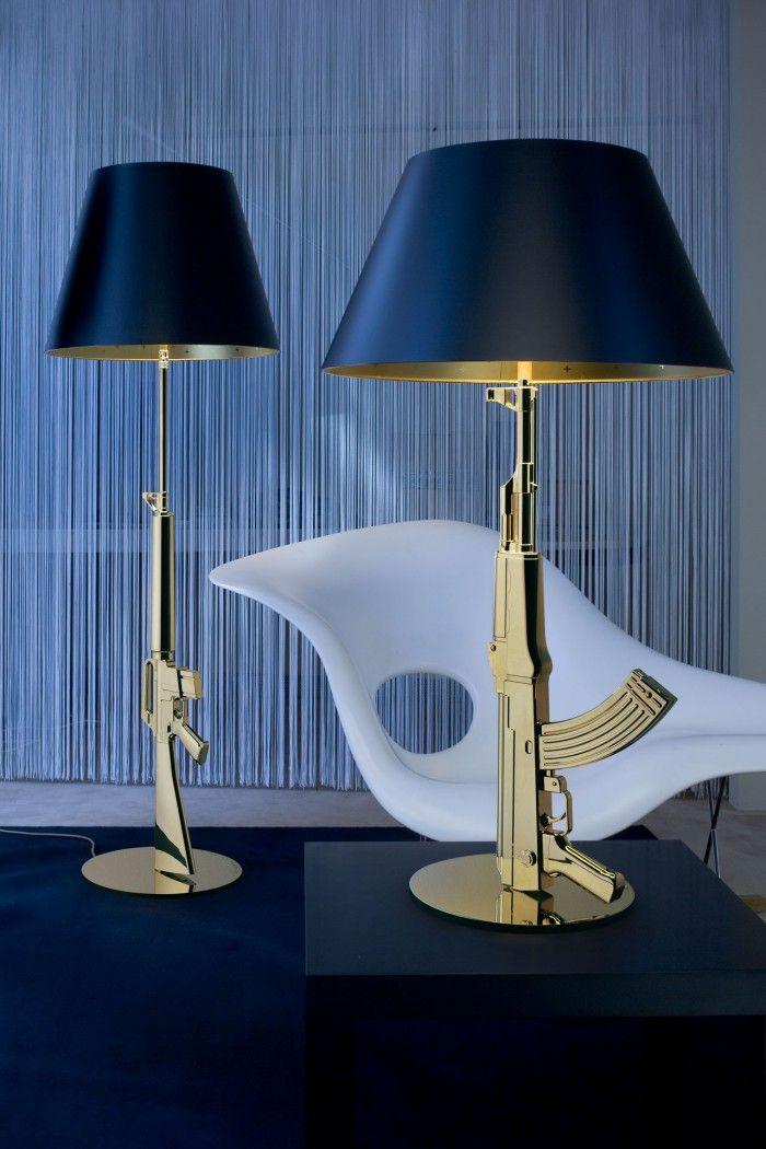 lampara gun de philippe starck para flos pistola ametralladora dorada oro lamparas originales de pie de mesa negro dorado